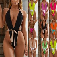 مثير قطعة واحدة المايوه أزياء المرأة monokini الخامس الرقبة عارية الذراعين ملابس ليوبارد الرسن الاستحمام دعوى النساء البرازيلي داخلية 1305 Z2