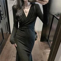 Casual Dresses Solid Sexy Midi Dress Women Office Lady V-neck Design Elegant Evening Party One Piece Korean 2021 Autumn Chic