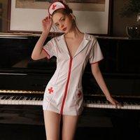 Sexy biancheria bianca biancheria biancheria seta profonda V risvolto cosplay uniforme corto dress dress dress da notte con fascia da letto di una taglia da donna Sleepwea sonno