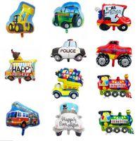 Comboio Folha de Alumínio Balão Dos Desenhos Animados Forma Forma Carro Fogo Caminhão Ambulância Bulldozer School Bus Transporte Brinquedos Crianças