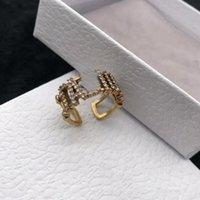 D семейные винтажные алмазные инкрустированные буквы латунное кольцо женское открытие мода мода мода кольцо личности крутой стиль указательный человек простота