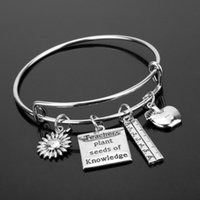 Party Favor Teacher's Day Gift Teachers Plant Seeds Of Knowledge Engraved Bracelets Stainless Steel Chain Teacher Presents