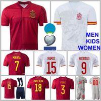 Euro Espanha Jersey 7 Alvaro Morata 5 Sergio Busquets Jordi Alba Rodri Gerard Torres Oyarzabal Ramos Espana National Team Kits de futebol Kits Camisa dos homens
