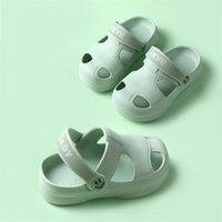 Children Shoes Summer Kids Girls Boys Sandals Slippers Solid Caroon Portable Indoor Home Toddler Baby Slides Soft Sole Antiskid 210726