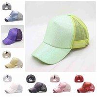 Glitter Beyzbol Şapkası Yüksek At Kuyruğu Şapka Kadın Snapback Pullu Örgü Kamyoncu Kapaklar Dağınık Bun Yaz Şapka Ayarlanabilir Hip Hop Şapka GGA3668-4