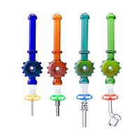 Wholesale CSYC NC083 Hookah Smoking Kit Small Glass Hand Pipe With 10mm Gr2 Ti Tips Quartz Banger portable Dab straw Water Bong