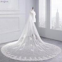 Véus nupcial Misshow de alta qualidade uma camada 3,5m longo 3m de largura véu de casamento apliques lace borda 2021 acessórios