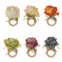 7 color Wooden Napkin buckle clasp hand woven linen rope Artificial Flower Napkin Ring Hotel table Party Favor T2I52718-1