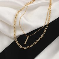 2021 double-layer Necklace plated with 18K Gold simple design Zircon Pendant clavicle chain