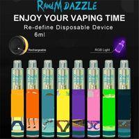 100% auténtico RANDM Dazzle Pro Dispositivo desechable Kit E Cigarrillos 6ml PODS 2000 2600 Puffs 1100mAh Batería Vape Bar PenRepilled R y M