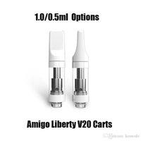 Auténtico itsuwa Amigo Liberty V20 Atomizador 0.5ml 1.0ml Cartucho de bobina de cerámica Sin fugas 510 Vaporizador de hilo Vapor Vape Tanque Carritos vacíos para la pluma de la batería 100% original