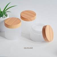 Frosted Plastic Cream Jars, Empty Cosmetic Bottles, PET Refillable Containers with Bamboo Wooden Look Caps, Facial Care Cream, DIY Makeup Tool, Bulk Price, 5oz 7oz 8oz