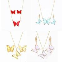 Pendientes collar wgoud novedad colorido cristal mariposa joyería conjunto 2021 moda resina acrílico y pendiente para mujeres pareja