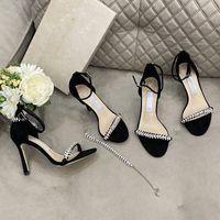 Lüks Tasarımcı Kadınlar Için Yüksek Topuklu Sandalet Lady Ayakkabı Catwalk Toka Kauçuk Out TO Heels 8 cm / 10 cm Boyutu 35-40
