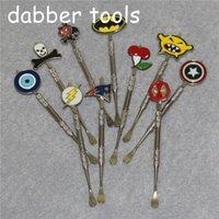 왁스 Dabber 도구 원자기 실버 컬러 흡연 Fashion 스티커가있는 120mm Dab 항아리 도구 건조 허브 용기 용 티타늄 네일 Mat DHL