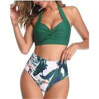 Cintura alta bikini traje de baño mujer traje de baño vintage de dos piezas retro halter rurded