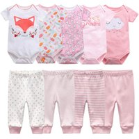 Clothing Sets Born Clothes Set Bodysuits+Pants 7 9Pcs Baby Girl Outfits Pink Sweet Toddler Boy Autumn 0-12M Infant Birth Gift Soft