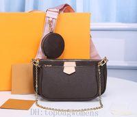 Moda M44823 3 pcs Mulheres Luxurys Designers Bolsas De Couro Real Bolsas De Couro Torça Mensageiro Cosmético Shopping Bag Totes