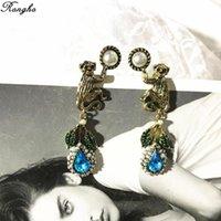 Moda Marka Vintage Metal Inci Maymun Saplama Küpe Kadınlar Için Charms Takı Kristal Yaprak Kolye Anti Altın