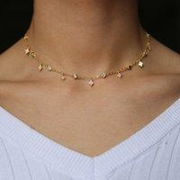 Designs Colliers Zircone Cubic Cristal Rose Rose Or Argent Couleur Dangle Star CZ Drop Collier Collier Bijoux pour femmes
