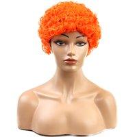 Kurze lockige Perücke synthetische kurze Haarperücken für schwarze Frauen kurze Frisur des lockigen Haares orange grüner Perücke Maschine Webtfactory Direct