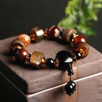 Requintado natural ágata pulseiras jóias homens mulheres vintage luxo cordão charme original tibetano dzi strand pulseira frisada, vertentes