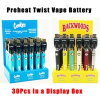 Cookies Backwoods Eovd Twist Preheat VV Battery 900mAh Bottom Voltage Adjustable Usb Charger Vape Pen 30Pcs with Display Box