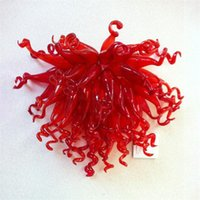 Современные 100% ручной работы взорванные лампы внутренняя стена светло-красный цвет стиль искусства 16x20 дюймов Мурано украшения стеклянные лампы для домашнего декора