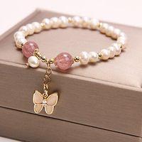 Charm Bracelets Freshwater Pearl Strawberry Crystal BRACELET Butterfly Pendant Pulseira Woman Jewelry Bolitas Para Pulseras