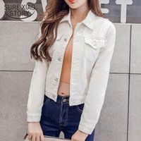 Women's Jackets Long Sleeve Winter Slim White Black Jeans Top For Women Solid Denim Jacket Short Overcoat Ladies Tops 4866