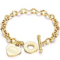 Atacado jóias mulheres rosa amor pulseira pulseira de aço inoxidável ouro amor coração pulseiras para presente de aniversário