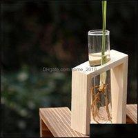 Vasi Décor Gardencrystal Vetro Provetta in vetro Vaso in legno Stand Flower Pots per impianti idroponici Decorazione giardino domestico 507 R2 goccia DeLive
