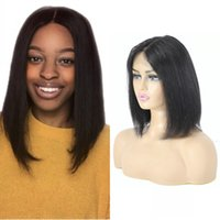 Bob Wig Short Mongolian 13x4x1 Straight T Part Lace Human Hair Wigs For Black Women with Bleached Knots Pre Plucked Remy