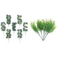 Pack Artificial Plants Faux Boxwood Shrubs & 24Pcs Eucalyptus Leaves Stems Plant Branches Decorative Flowers Wreaths