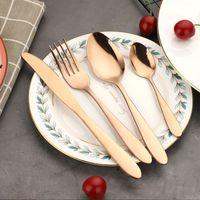 4 adet / takım Altın Çatal Kaşık Çatal Bıçak Çay Kaşık Mat Altın Paslanmaz Çelik Gıda Silverware Yemek Seti RRA2833-7 523 R2