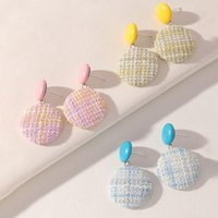 Stud Ins Style Cotton Woven Earrings Pink Blue Sweet Cute Personality Design Simple Round Wholesale Women Jewelry