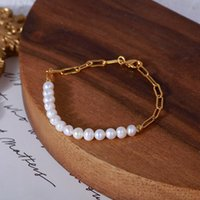 Link, Chain Natural Pearl Women Bracelets Fashion Gold Color Elegance Necklace Mother's Gift Jewelry Drop