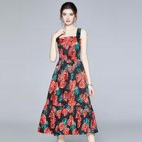 Günlük Elbiseler Merchall 2021 İlkbahar Yaz Pist Kırmızı Anthurium Çiçek Baskı Elbise kadın Spagetti Kayışı Seksi Midi Vestidos
