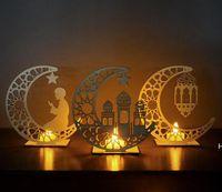 Party Decor Ramadan Hölzerner Dekoration Islam Muslim Eid Ramadans DIY Moon Star Tischtisch Ornamente Home Office DHF6239