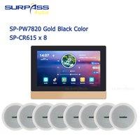 5GWIFI + BLUETOOTH Alta calidad Casa entera Control de audio Sistema de música 2zono 7 pulgadas de pantalla Amplificador de pared 8 altavoz de techo Interfaz USB HDMI