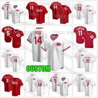14 Pete Rose Jersey 11 Barry Larkin 5 Johnny Bench Cincinnati 사용자 정의 19 Joey Votto Reds 야구 유니폼 Eugenio Suarez Tucker Barnhart