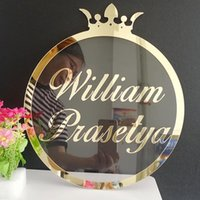 Party Decoration Custom Mirror Gold Acrylic Name Sign Personalized Crown Signs Decor Backdrop Wall Hanger