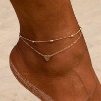 Simple Heart Anklets Tobilleras de ganchillo descalzo Sandalías de la joyería del pie New Tenciletes en las pulseras de los tobillos para las mujeres Cadena de piernas