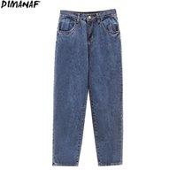Dimanaf Plus Size Frauen Jeans Hosen Hohe Taille Denim Gerade Weibliche Vintage Harem Mode Taschen Blaue Spring Große Größe S-5XL Y0320