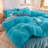 Soft Four-Piece Warm Pelpy Ledding Sets King Queen Size Luxury Quilt Cover Funda de almohada Edredón Marca Edredón Materiales Suministros Chic 714 V2
