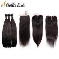 Peruanisches reines menschliches Haar-FEFTS und -verschluss webt seidig gerade 3 bündeln menschliche haarverlängerung spitze schließung 4x4 bella haare