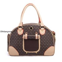 Luxury Fashion Dog Carrier Pu Leather Puppy Handbag Purse Cat Tote Bag Pet Valise Travel Hiking Shopping Brown Large u