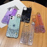 For iPhone 12 11 Mini Pro Max XS XR 8 7 Plus Phone Cases Shockproof Glitter Sequin Star Gold Foil Holder Wrist Strap Clear Soft TPU Case