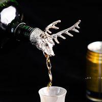 4 Colors Zinc Alloy Creative Deer Head Wine Bottle Cork Pourer Stopper Deer Stag Wine Pourer Aerator Barware Decor Bar Tools EWE9747