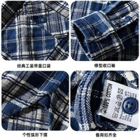 Men's Casual Shirts Autumn Winter Japanese Retro Flannel Tooling Plaid Shirt Jacket Pure Cotton Thick Multi-pocket Long Sleeved Lapel Blouse